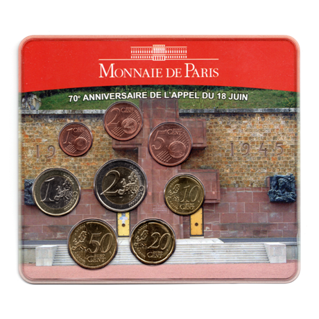 (EUR07.CofBU&FDC.2010.M-S7.158) Mini-set BU France 2010 - De Gaulle (coffret rouge) Recto