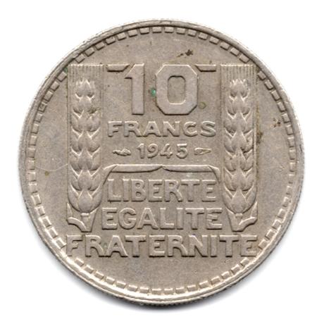 (FMO.10.1945.2.2.000000001) 10 Francs Turin 1945, grosse tête (rameaux longs) Revers