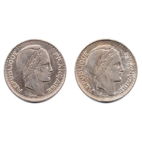 (LOT.W006.10000.1950.et.1952.1.000000001) 100 Francs Turin (série des 2 pièces) Avers