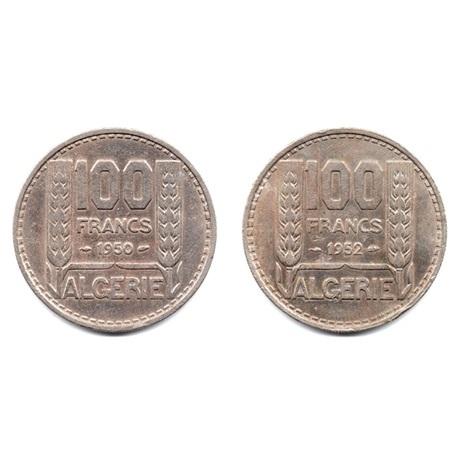 (LOT.W006.10000.1950.et.1952.1.000000001) 100 Francs Turin (série des 2 pièces) Revers