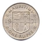 (W097.100.1971.1.000000001) 1 Rupee Armes de l'Ile Maurice 1971 Revers