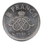 (W150.200.1981.1.2.000000002) 2 Francs Rainier III 1981 Revers