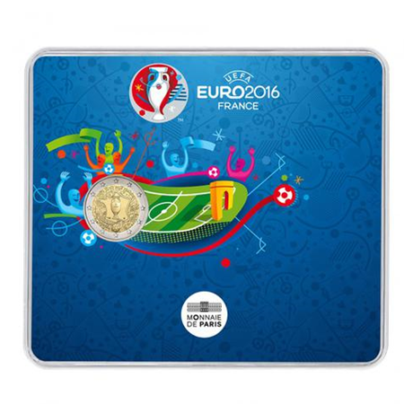 2 euro commémorative France 2016 BU - Championnat d'Europe de football Recto