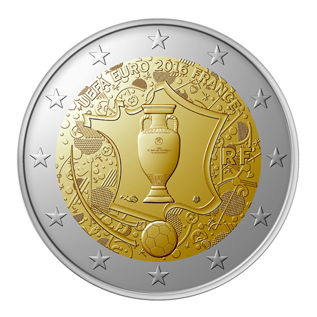 2 euro commémorative France 2016 - Championnat d'Europe de football Avers