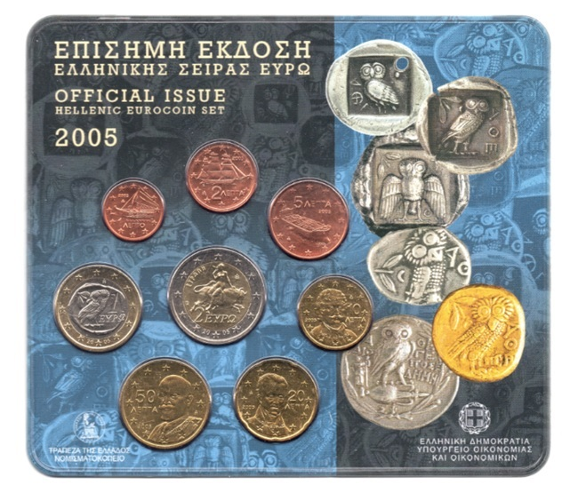 (EUR08.CofBU&FDC.2005.M-S1.000000002) BU coin set Greece 2005 Front (zoom)