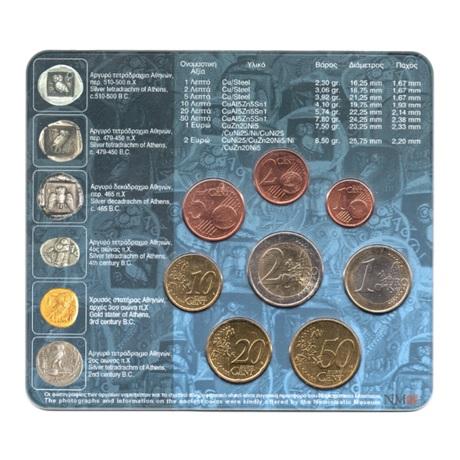(EUR08.CofBU&FDC.2005.M-S1.000000002) Mini-set BU Grèce 2005 Verso