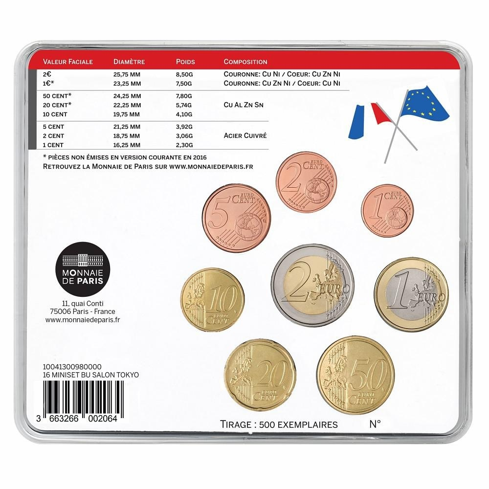 (EUR07.CofBU&FDC.2016.10041300980000) BU coin set France 2016 - Tokyo International Coin Convention Back (zoom)