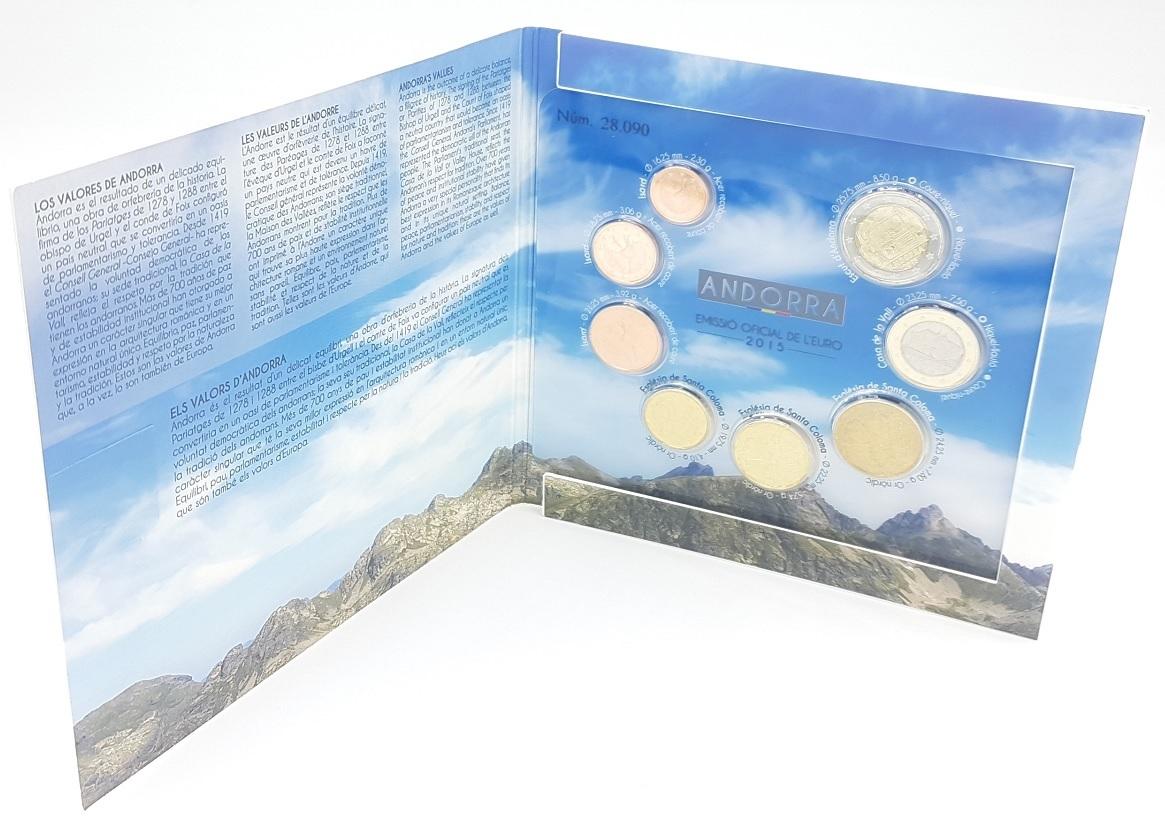 (EUR24.CofBU&FDC.2015.Cof-BU.28090) BU coin set Andorra 2015 (open) (zoom)
