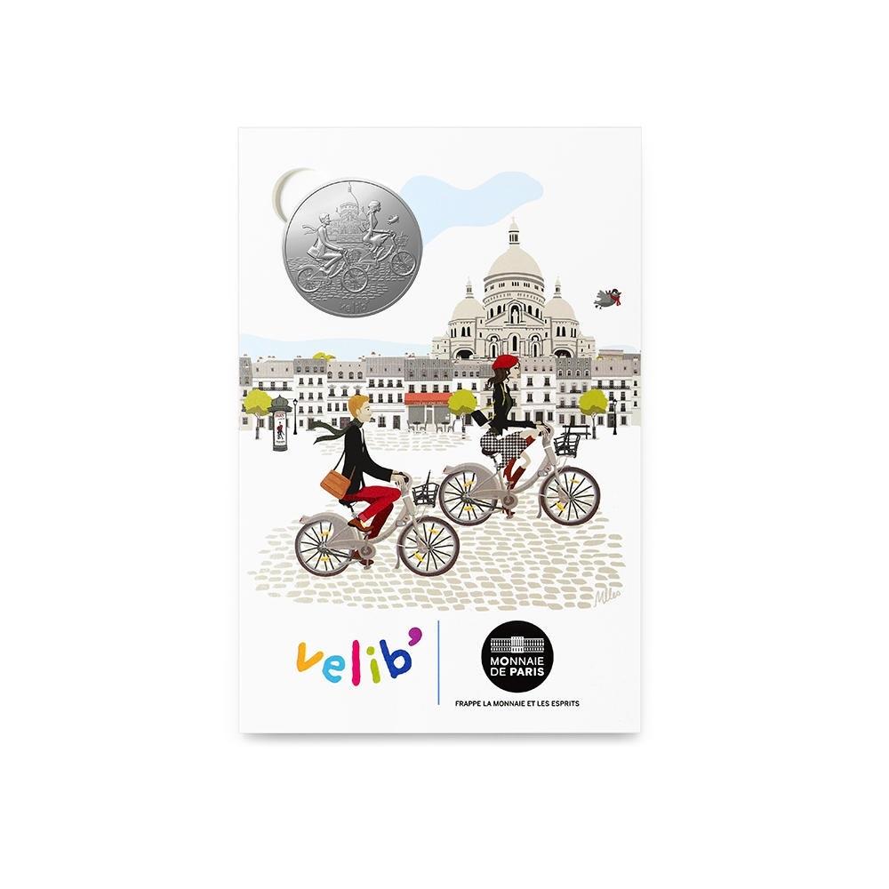 (FMED.Méd.tourist.n.d._2016_.10011303450000) Tourism token - Lovers riding Vélib Front (zoom)