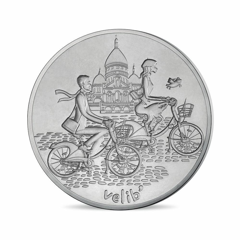 (FMED.Méd.tourist.n.d._2016_.10011303450000) Tourism token - Lovers riding Vélib Obverse (zoom)