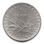 (FMO.1.1974.27.16.000000001) 1 Franc Semeuse 1974 Revers