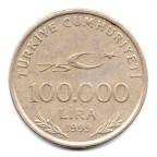 (W228.100k.1999.1.1.000000001) 100000 Lira Mustafa Kemal Atatürk 1999 Revers