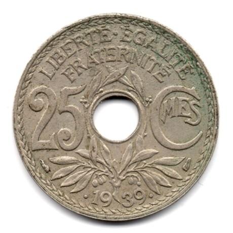 (FMO.025.•1939•.16.2.000000004) 25 centimes Lindauer, maillechort •1939• Revers