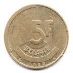(W023.500.1986.1.2.000000001) 5 Francs Baudouin 1986 - Légende flamande (boucle inférieure du B et barre du G pleines) Revers