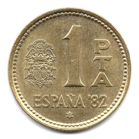 (W064.001.1980.1.3.000000001) 1 Peseta Coupe du monde de football (1982) 1980 (82 dans l'étoile) Revers