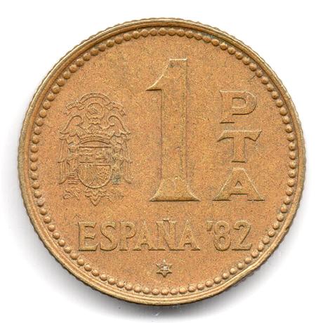 (W064.001.1980.1.3.000000002) 1 Peseta Coupe du monde de football (1982) 1980 (82 dans l'étoile) Revers