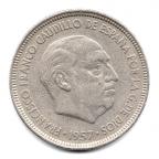 (W064.005.1957.1.5.000000001) 5 Pesetas Franco 1957 (62 dans l'étoile) Avers