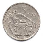 (W064.005.1957.1.5.000000001) 5 Pesetas Franco 1957 (62 dans l'étoile) Revers