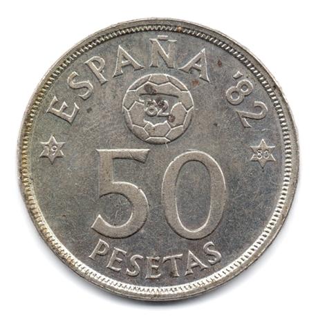 (W064.050.1980.1.1.000000001) 50 Pesetas Coupe du monde de football (1982) 1980 (80 dans l'étoile) Revers