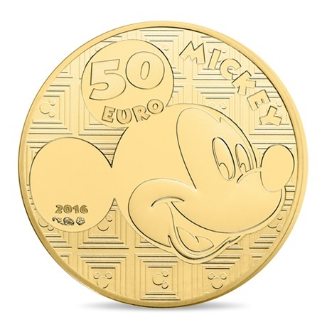 (EUR07.ComBU&BE.2016.10041300550000) 50 euro France 2016 Au BE - Mickey Mouse Revers
