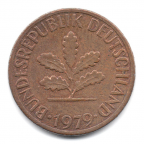 (W007.001.1979_J.1.5.000000001) 1 Pfennig Rameau de chêne 1979 J Avers