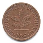 (W007.001.1985_F.1.3.000000001) 1 Pfennig Rameau de chêne 1985 F Avers