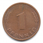 (W007.001.1985_F.1.3.000000001) 1 Pfennig Rameau de chêne 1985 F Revers