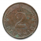(W007.002.1950_G.1.4.000000001) 2 Pfennig Rameau de chêne 1950 G Revers
