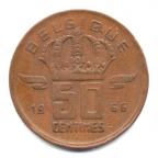 (W023.050.1966.2.000000001) 50 centimes Mineur, Petite tête 1966 Revers