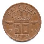 (W023.050.1969.2.000000001) 50 centimes Mineur, Petite tête 1969 Revers