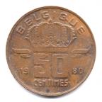 (W023.050.1980.2.000000001) 50 centimes Mineur, Petite tête 1980 Revers
