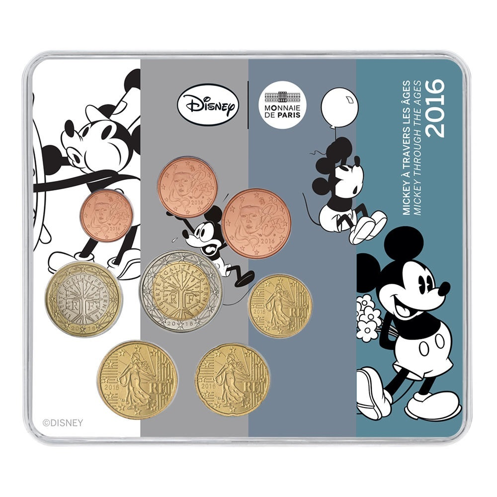 (EUR07.CofBU&FDC.2016.10041301030000) BU coin set France 2016 - Mickey Mouse Front (zoom)