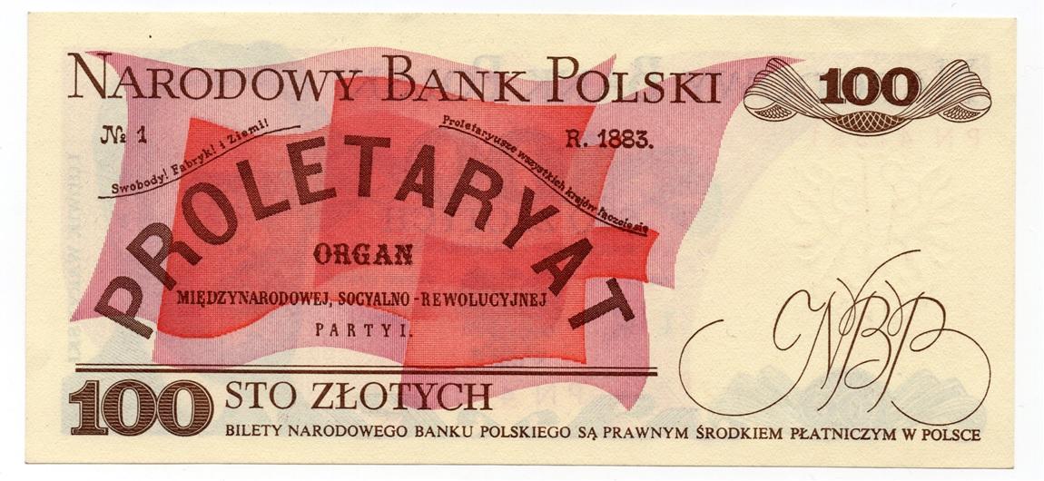 (BILLS175.100Z.1988.1.1988_12_01.PN.4135115) 100 Zlotych Ludwik Waryński 1988 Back (zoom)