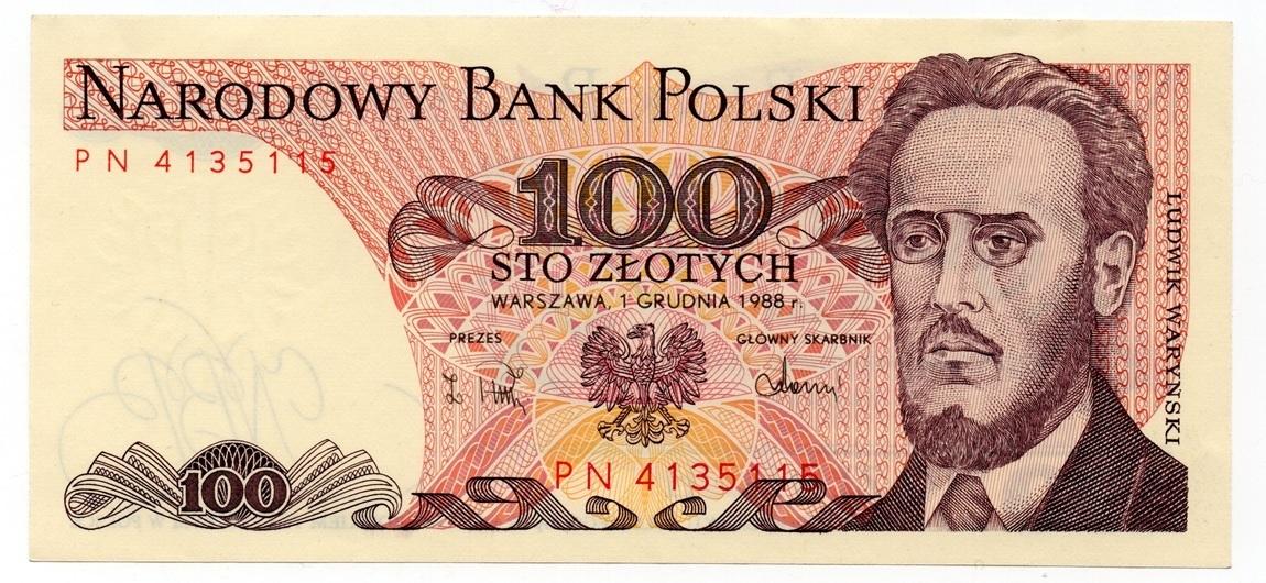 (BILLS175.100Z.1988.1.1988_12_01.PN.4135115) 100 Zlotych Ludwik Waryński 1988 Front (zoom)