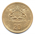 (W145.20S.1974.1.000000001) 20 Santimat Hassan II 1974 Revers