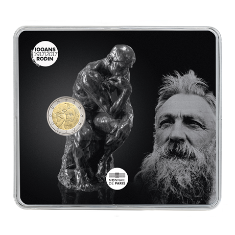 2 euro commémorative France 2017 BU - Rodin et son Penseur Recto