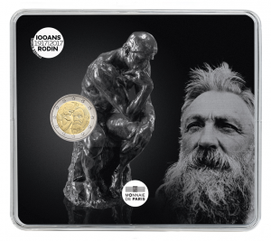 2 euro commemorative coin France 2017 BU - Rodin & his own Thinker Front (zoom)