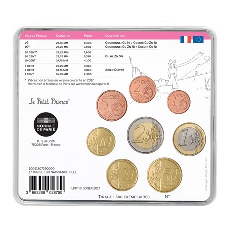 (EUR07.CofBU&FDC.2017.10041307290000) Mini-set BU France 2017 - Naissance fille Verso