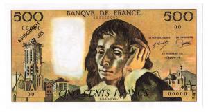 (FBILLS.500.spécimen1.1.008) Faux spécimen 500 Francs Pascal Recto (zoom)