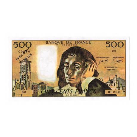(FBILLS.500.spécimen1.1.008) Faux spécimen 500 Francs Pascal Recto