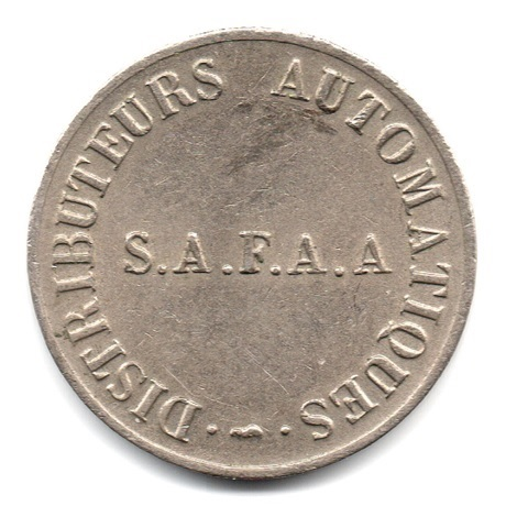 (FMED.Méd.jetons.XXème.CuNi1.1.ttb.plus.000000001) Distributeurs automatiques S.A.F.A.A Avers