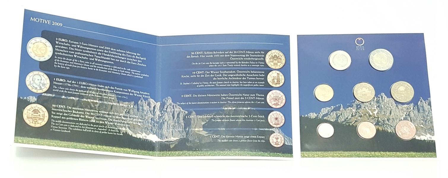 (EUR01.CofBU&FDC.2009.Cof-BU.000000002) BU coin set Austria 2009 (inside) (zoom)