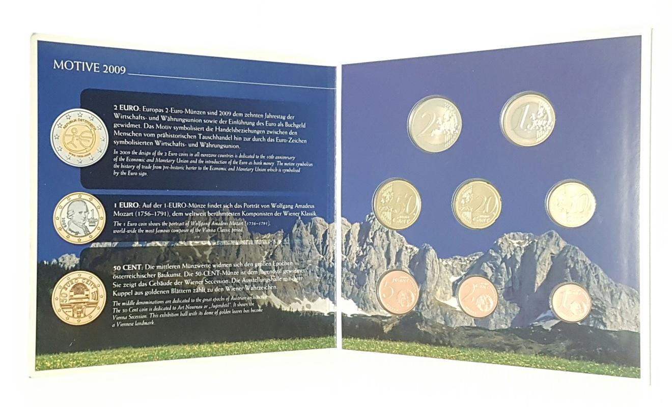 (EUR01.CofBU&FDC.2009.Cof-BU.000000002) BU coin set Austria 2009 (open) (zoom)