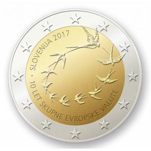 Projet par Matej Ramšak adopté 2 euro commémorative Slovénie 2017 - 10 ans de l'euro slovène