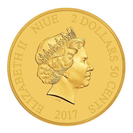 2,5 dollars Niue 2017 0,5 gramme or BE - Rendez-vous retardé Avers