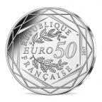50 euro France 2017 argent - Coq en marinière Revers