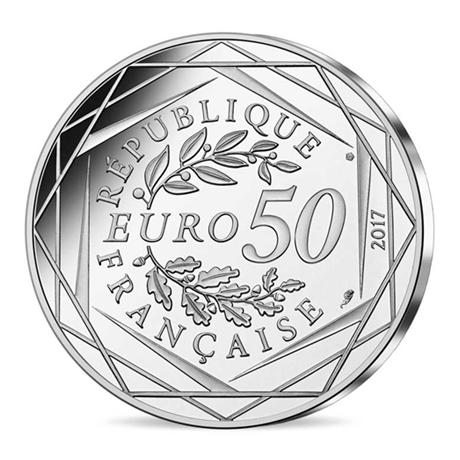 50 euro france 2017 argent coq en marini re. Black Bedroom Furniture Sets. Home Design Ideas