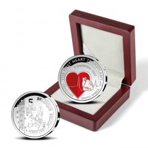 5 euro Belgique 2017 argent BE - Première transplantation cardiaque (zoom)