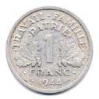 (FMO.1.1944.24.4.000000003) 1 Franc Francisque, légère 1944 Revers