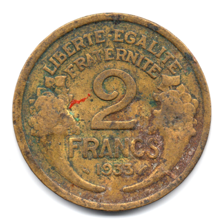 (FMO.2.1933.18.3.000000001) 2 Francs Morlon 1933 Revers